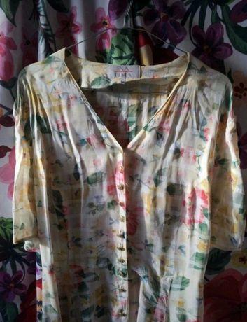 Sukienka kwiecista vintage żółta letnia gorset wiązana z tyłu dekoltv