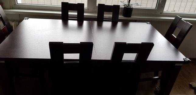 Stół rozkładany + krzesła Window kolor wenge stan dobry+