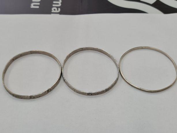 Warmet! 3 srebrne bransoletki owalne / sztywne/ 800/ 35.9 gram