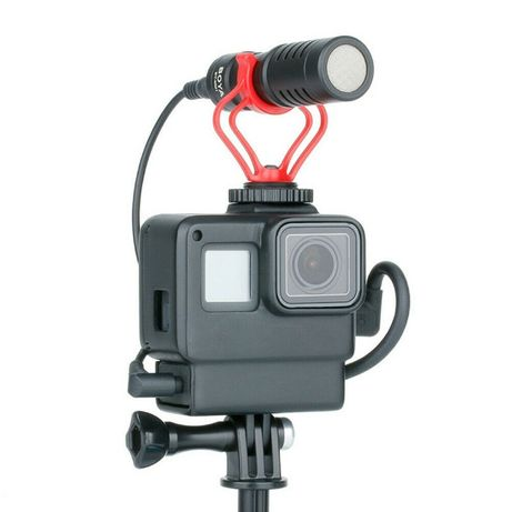 Moldura Gopro Hero 5 6 7 -Com suporte para Microfone-Novo-Nunca Usado