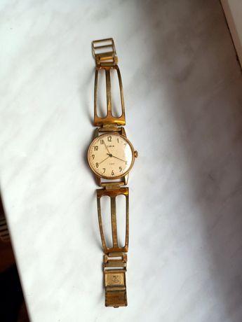 Stary pozłacany zegarek radziecki zarja 17 jewels