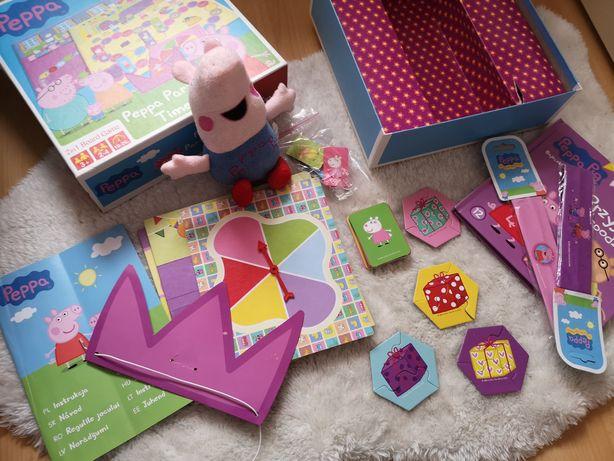 Zestaw świnka peppa peppa pig gra party maskotka opaski książka dvd