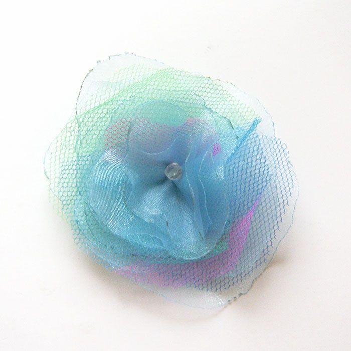 tiulowa broszka kwiatek,broszka niebieska,broszka kolorowa z organzy Olsztyn - image 1