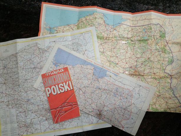 Samochodowa mapa Polski lata 1972/1974/1981