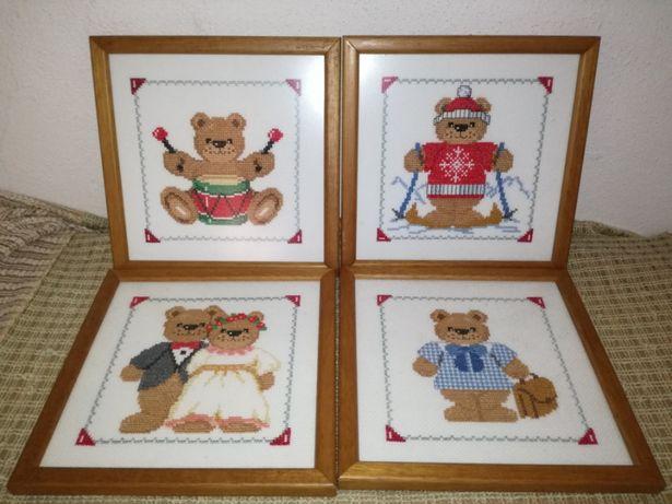 Quadros em ponto de cruz - ursinhos