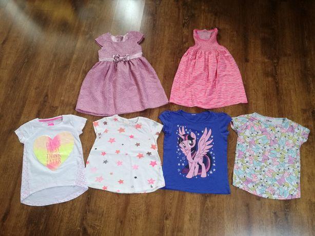 Zestaw letni markowych ubranek 6 szt bluzki sukienki H&M Zara roz.116