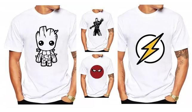 Koszulki T-shirt Marvel Groot Iron Man Flash Spider Man S M L XL XXL