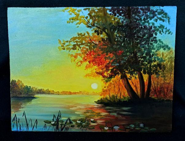 """Картина маслом """"Закат на озере"""""""