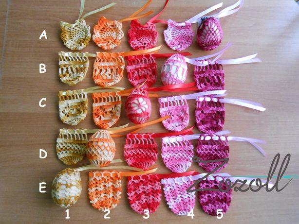 Szydełkowe koszulki na jajka, 22 kolory