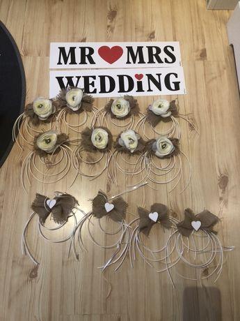 Ozdoby na samochod ślubny wesele tablice