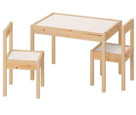 Детский стол и 2 стула, белый, сосна