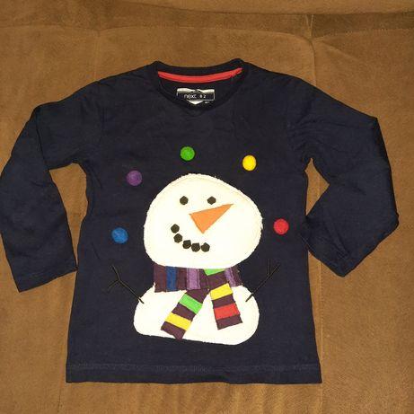 Классный реглан с объемным снеговиком свитер кофта Next Mayoral 104