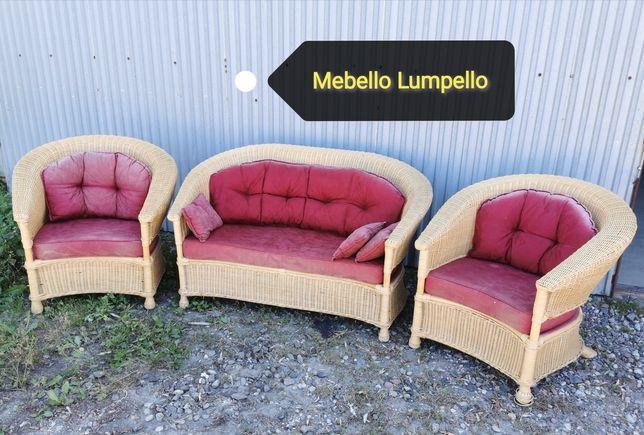 Komplet wiklinowy ogrodowy komplet kanapa fotele 4 osoby rattan