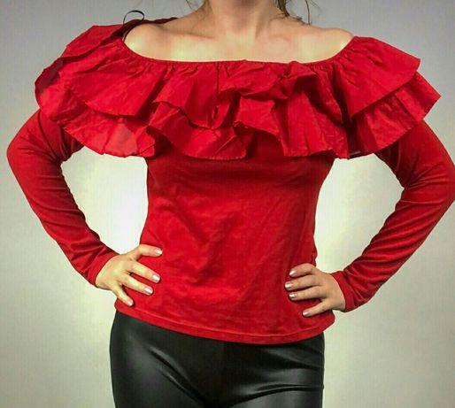 Bluzka hiszpanka falbanki czerwona L H&M