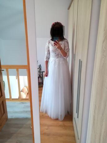 Suknia ślubna długi rękaw Boho Rustykalna