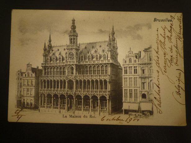 Carta Postal Selado 1901 Bruxelas A Casa do Rei Selado circulado