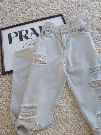 Рвані мом джинси  білі, ніжно голубі,високая посадка