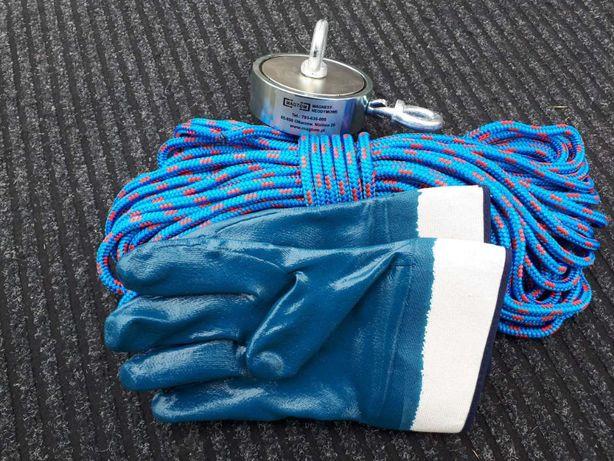 Magnes neodymowy z uchwytem 550kg Lina 25m. liny 8mm rękawiczki