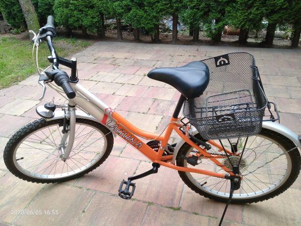 Rower Laguna 24 cale - przerzutki Shimano, koszyk, jak nowy