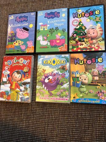 Bajki na DVD 6 sztuk, Świnka PEPA, Hotusie, Oui- Oui, Kikoriki