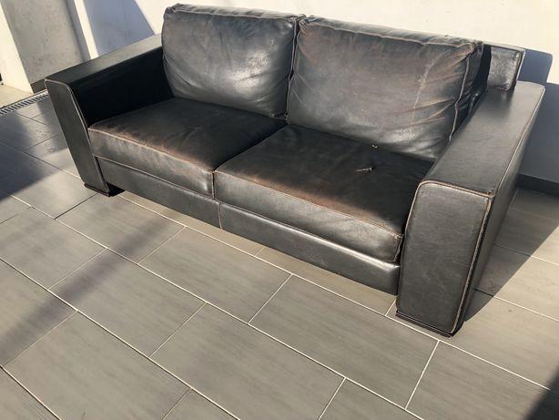 Sofa de pele genuina 3 lugares