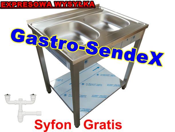 Zlew Gastronomiczny Dwukomorowy 80x60x85 + półką/ syfon GRATIS