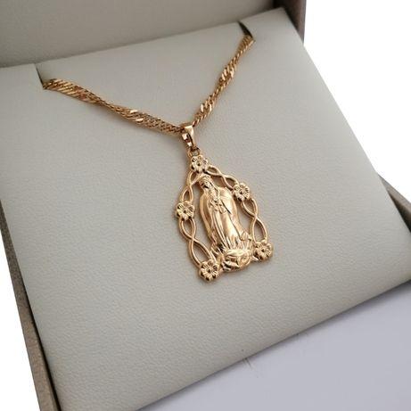 Złoty Naszyjnik Matka Boska 50cm Chrzest Komunia Prezent