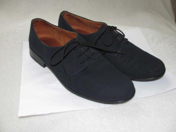 Buty z granatowego nubuku r. 36 na Komunię, do eleganckich spodni