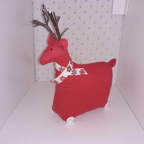 Jelonek - ozdoba świąteczna - czerwony