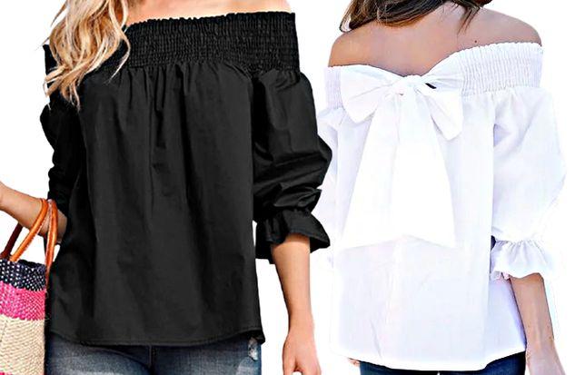 Biała czarna koszula kokarda S M L XL XXL