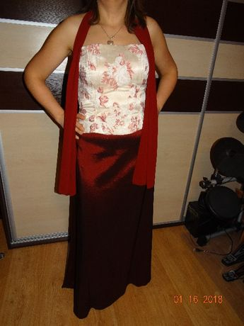 sukienka 3cz. Gorset ecru i spódnica bordowa rozmiar z metki 40 szal