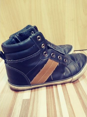 Ocieplane buty ze skóry TXM , wysokie trampki skorzane