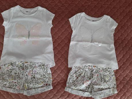 Biała koszulka H&M, spodenki 104 Bliźniaczki, dla bliźniaczek