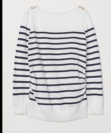Sweter, sweterek ciążowy  h& m mama biały w paski