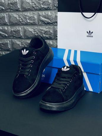 Замшевые черные кроссовки кеды Adidas шкіряні кросівки Адідас Топ 2021