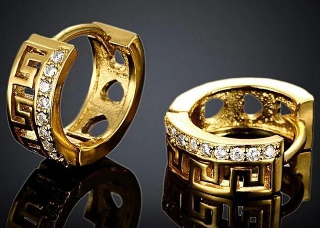 Złote (14k) kolczyki Versace z kryształkami Swarovskiego;