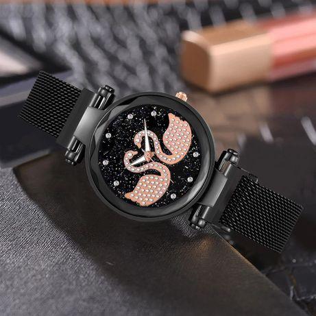 Nowy zegarek damski pasek na magnes magnetyczny czarny