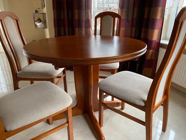 Stół okrągły 100cm rozkładany + krzesła