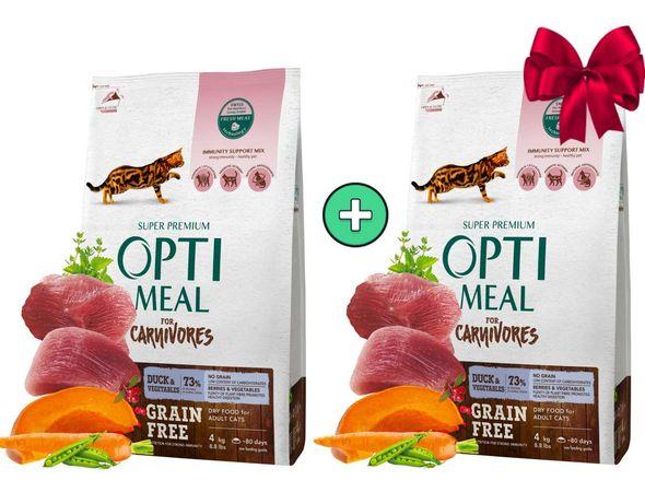 4кг в подарок! Беззерновой корм для кошек Optimeal (Оптимил) 8кг!