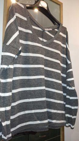 Damski lekki, elastyczny, szaro- biały sweter w pasy Atmosphere, 16 44