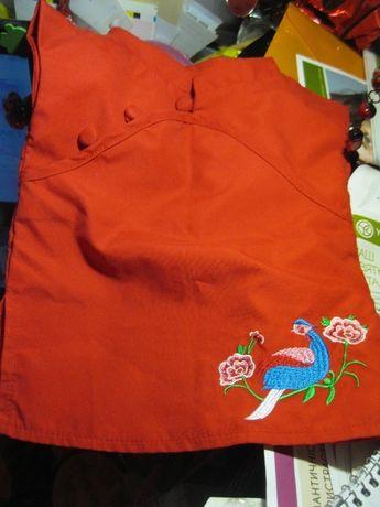 игрушечное платье игрушка одежка красное с павлином фирменное на кукла