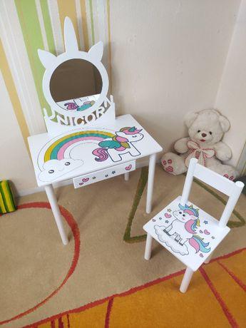 Детский столик трюмо Единорог трельяж стульчик