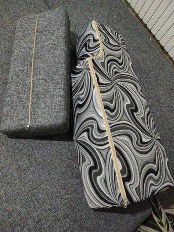 Sofa kanapa rozkładana i dwie pufy