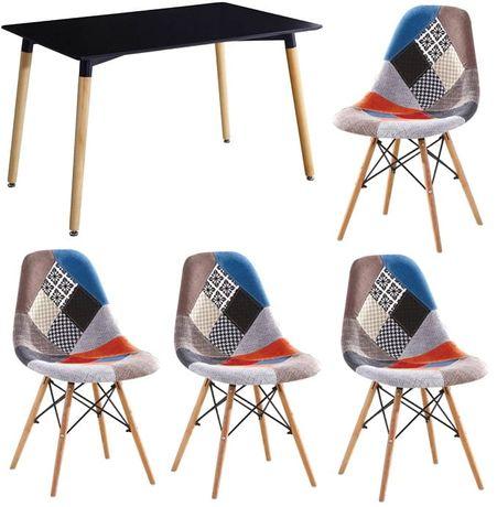 Zestaw 4 krzesła tapicerowane Simon A i stół prostokątny