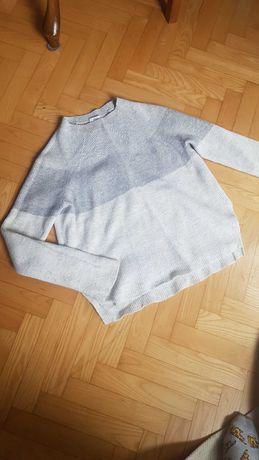 Biały szary Wełniany kaszmirowy sweterek sweter S zara