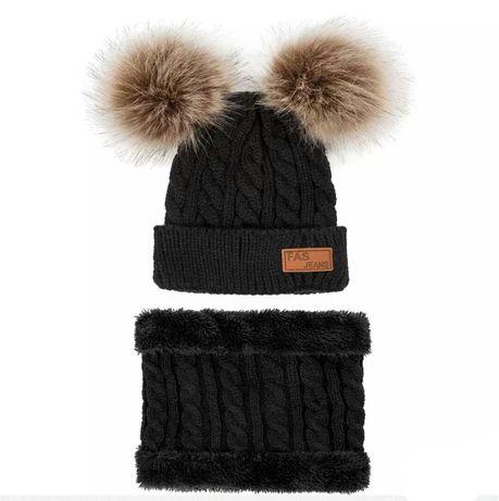 Komplet jesienno-zimowy czapka + komin czarny