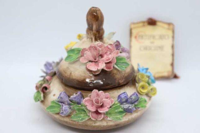Antiga Caixa Porcelana Italiana Capodimonte com Certificado de Origem