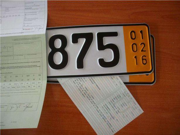 TABLICE Rejestracyjne Wywozowe Zjazdowe Krótkoterminowe Żółte 5 dni