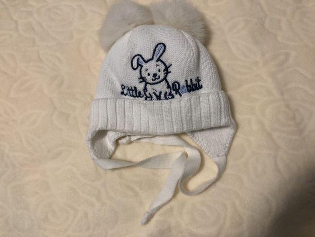 Детская зимняя шапка для мальчика Зайчик, белая, David's Star