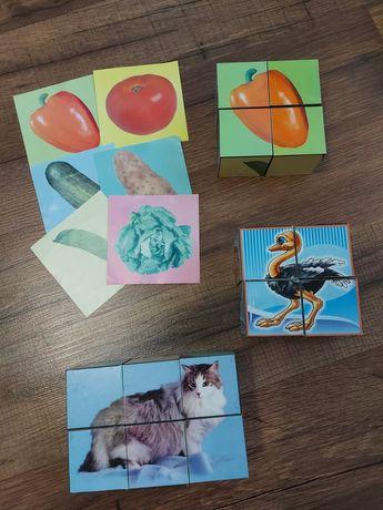 Кубики овощи, птицы, животные